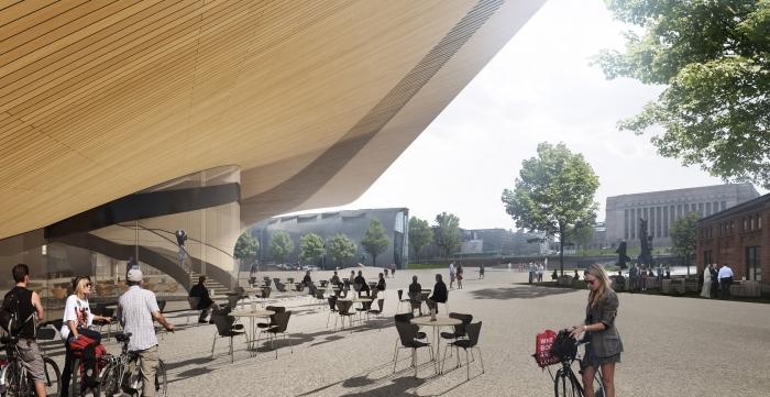 Masivní přístřešek nové knihovny poslouží hlavně v létě k venkovnímu posezení