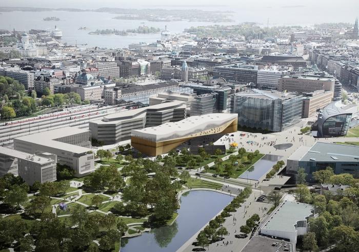 Zasazení centrální knihovny ve finských Helsinkách
