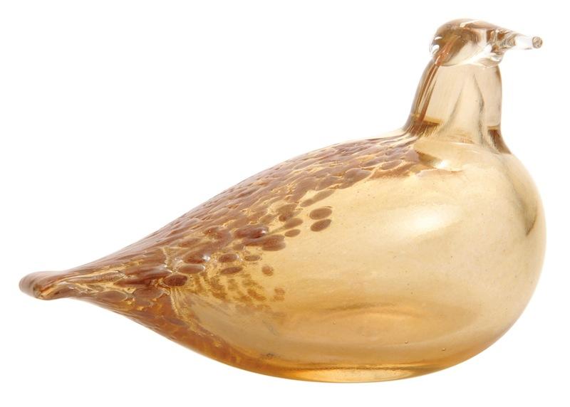Skleněný ptáček Muurla v okrové barvě inspirovaný Brkoslavem Severským