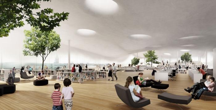 Interiér nové finské knihovny v Helsinkách