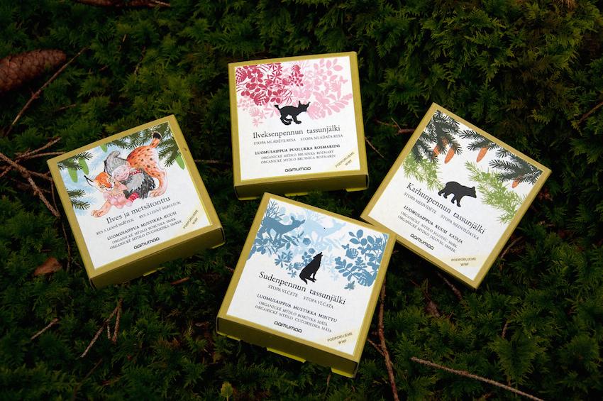 Aamumaa organická mýdla z Finska jsou uložená v krásných dárkových krabičkách