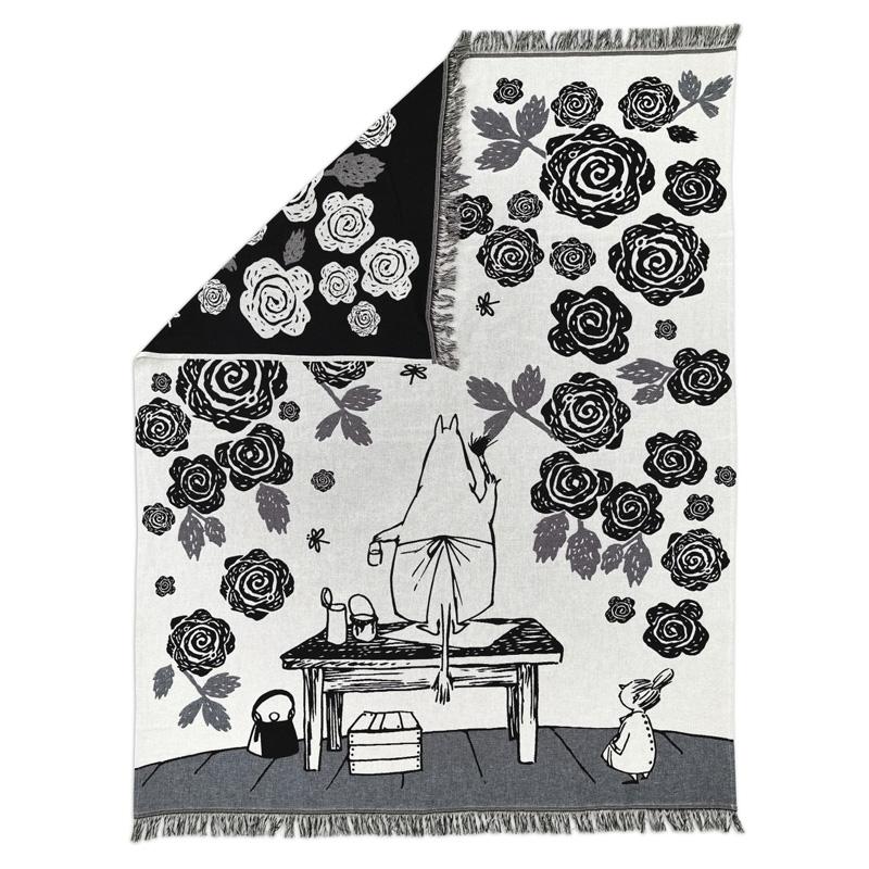 bavlnena-deka-moomin-rose-garden-130x170-cerno-bila